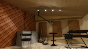 3d recording studio auditorium anecoic model