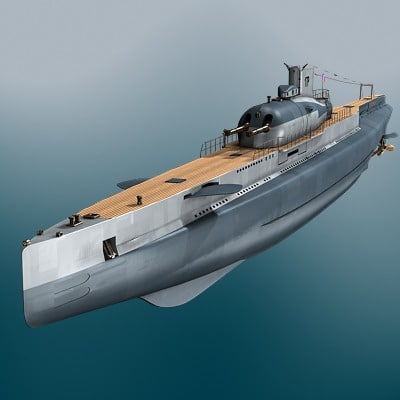 3d french submarine surcouf ww2