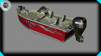 lund fishing boat 3d max
