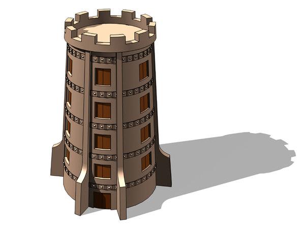 3d tower toon model