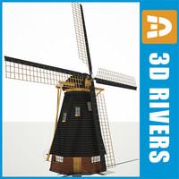 3d windmill old village