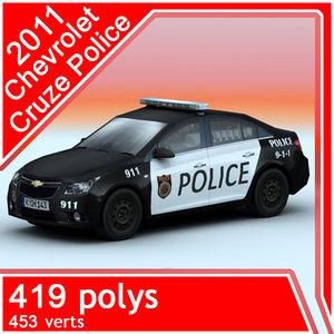 3d police 2011 chevrolet cruze model