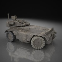 4-wheeled military vechicle 3d model