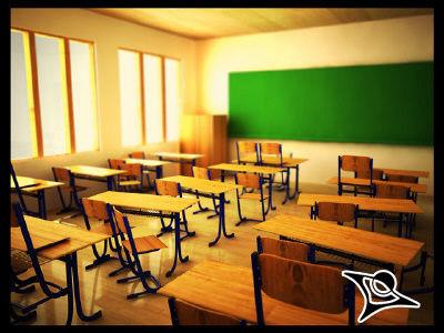 3d school desk model