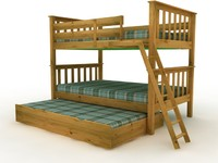 Twin Over Twin Mission Bunk bed - High Quality Furniture 3d model