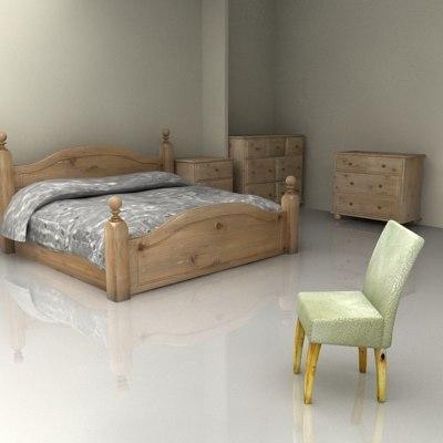 3d model harvest furniture bedroom set