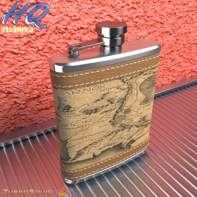 3d model of hip flask 12