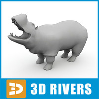 3d model polygonal hippopotamus