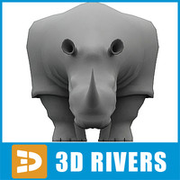 polygonal rhino animal 3d max