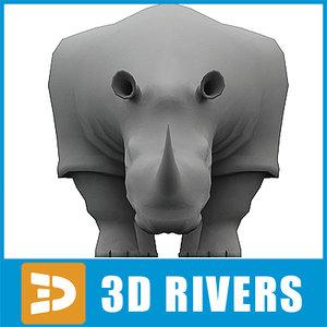 polygonal rhino animal 3d max