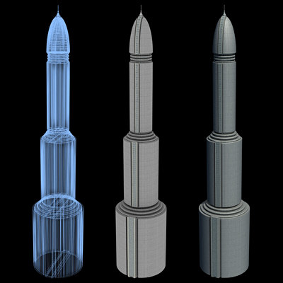 3d model super skyscraper futuristic building