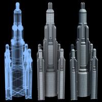 3d super skyscraper futuristic building