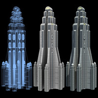 3d model of super skyscraper futuristic building