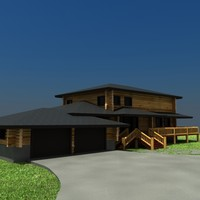 Log House with Garage