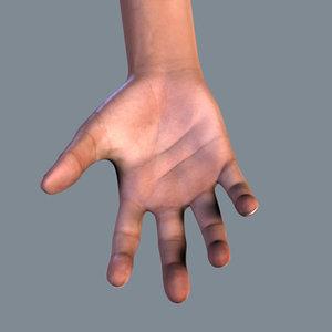 human hand modeled realistic 3d model