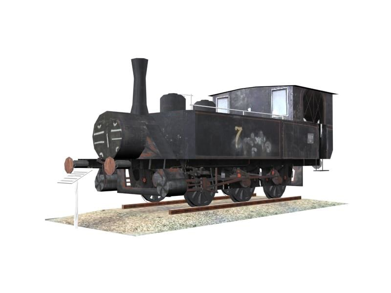 old steam engine 3d max