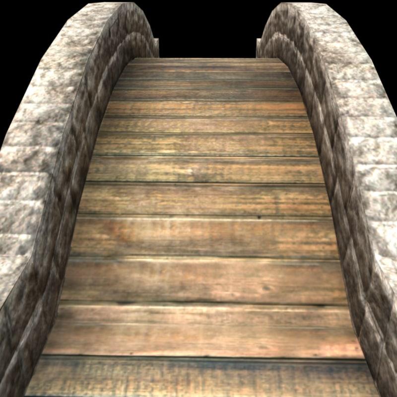 3d stone foot bridge model