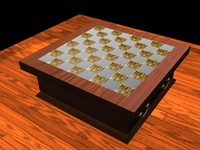 mahogany chess board 3d max
