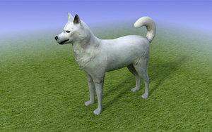 white husky dog 3ds