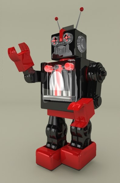 retro toy robot 3d model