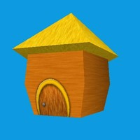 small cartoony hut 3d obj