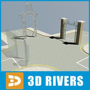 metallic gate 3d model