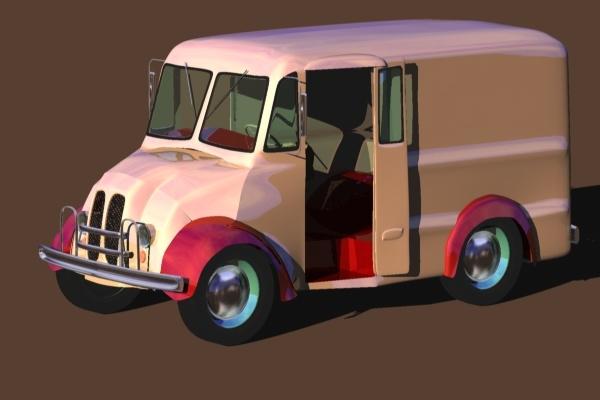 free milk van 3d model