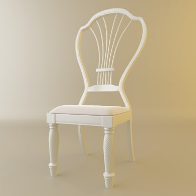 3d model white classical chair wedding