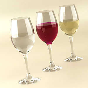 3ds wineglasses red wine