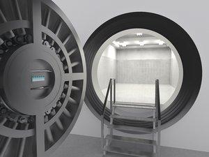 3d model massive bank vault
