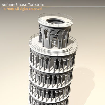 leaning tower pisa 3d c4d