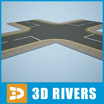 3ds road crossroad t-shaped
