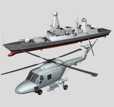 3d model type45 destroyer lynx helicopter