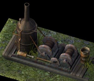 rustic donkey engine 3d model