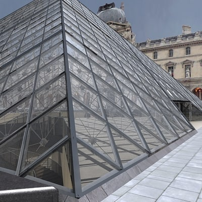 3d model of pyramid louvre