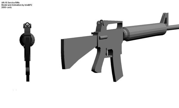 free ar-15 service rifle 3d model