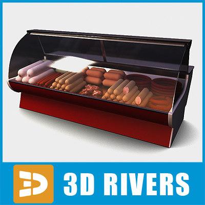 3d display freezer food sausages