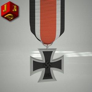 3d model iron cross 2nd class