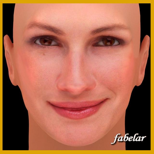 julia roberts head 3d obj
