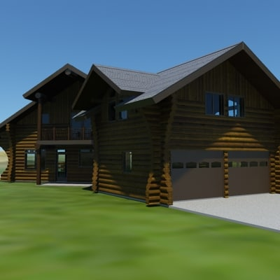 3ds max log cabin