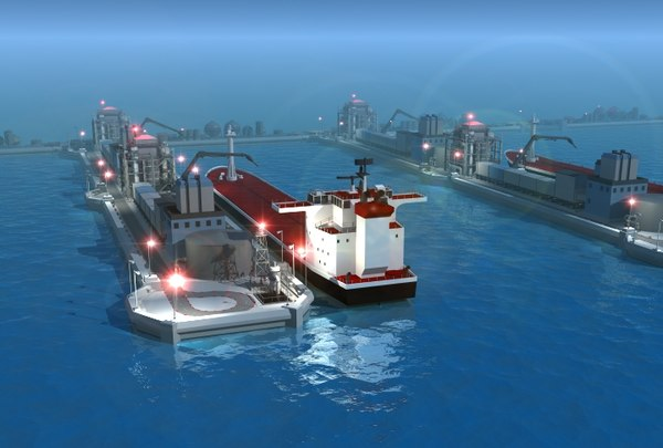 oil tanker fueling dock 3d model