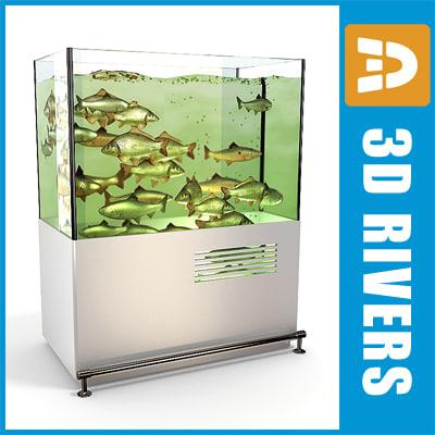 3d aquarium live fish model