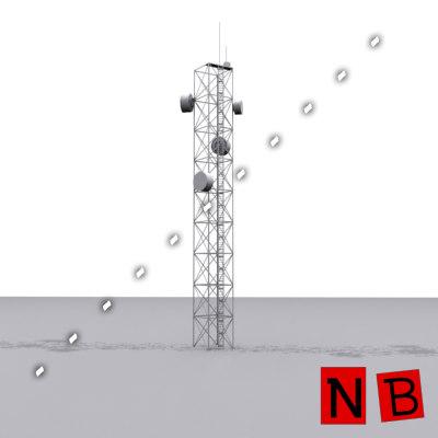 communication tv tower antenna 3d 3ds