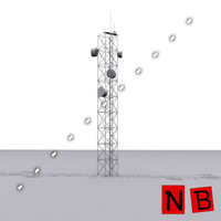 communication tv tower antenna 3d 3ds