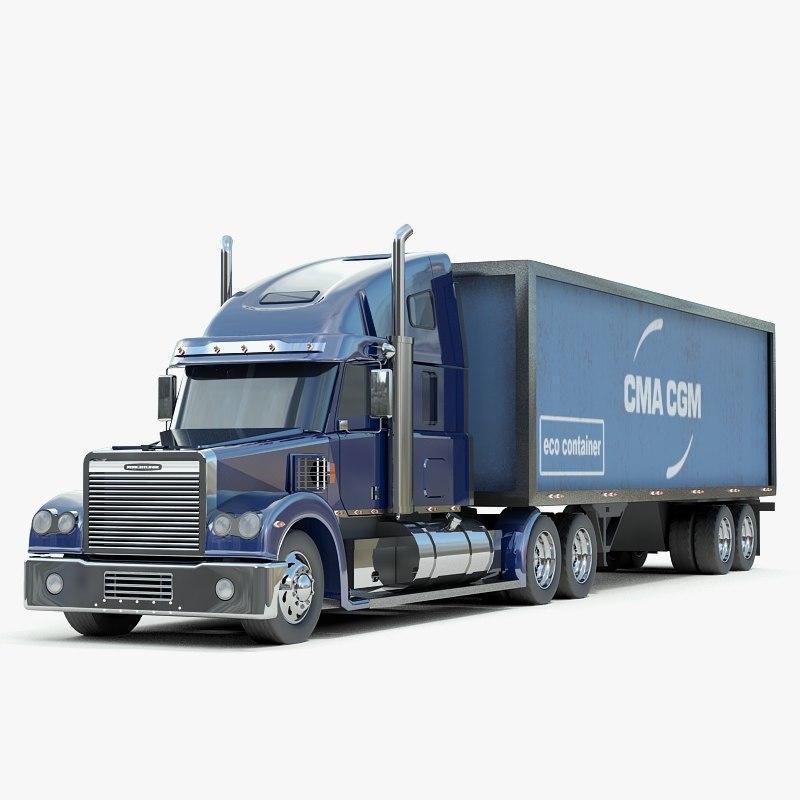 freightliner coronado truck 3d model