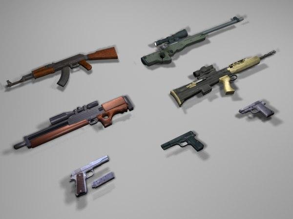 guns rifle ready 3d 3ds