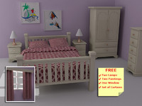 Harvest Pinewood Bedroom Furniture - High Quality Furniture 3d model