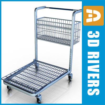 3d large shopping cart model