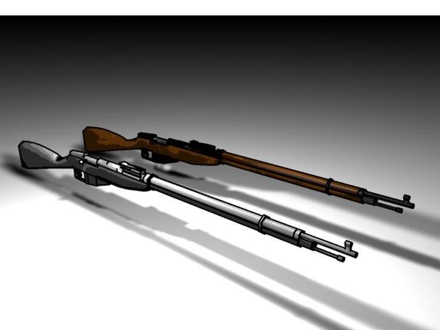 3d nagant rifle toon model
