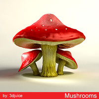 mushrooms amanita muscaria 3d max